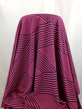 Black and Magenta Diagonal Striped Double Knit