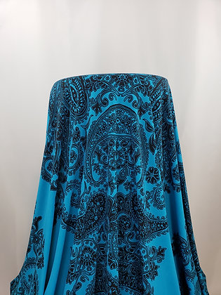 SOLD BY THE PANEL - Teal Blue/Black Baroque Pattern Poly/Lycra Blend