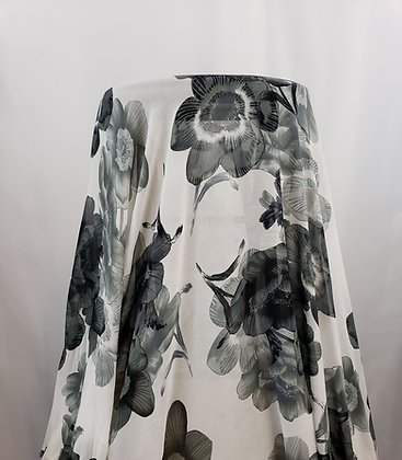 Off-White/Black/Gray Floral 100% Polyester Crepe Chiffon