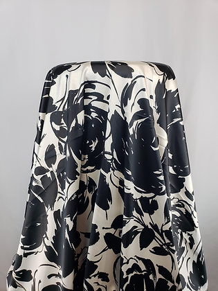 Black/Pearl Polyester/Lycra Floral Print Stretch Satin