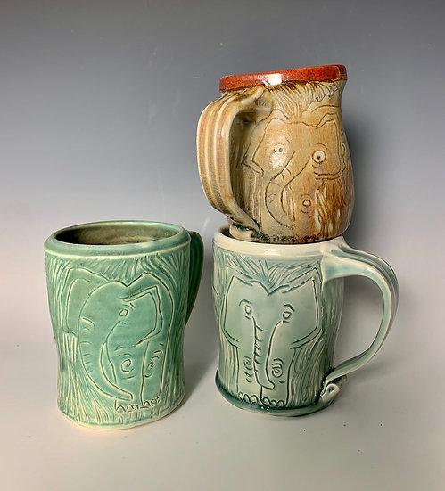 Carved Elephant Design Mug