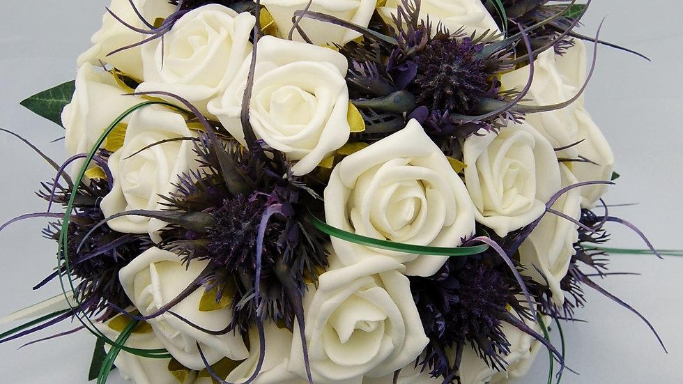 Spiky Thistle & Rose Bouquet-PB014