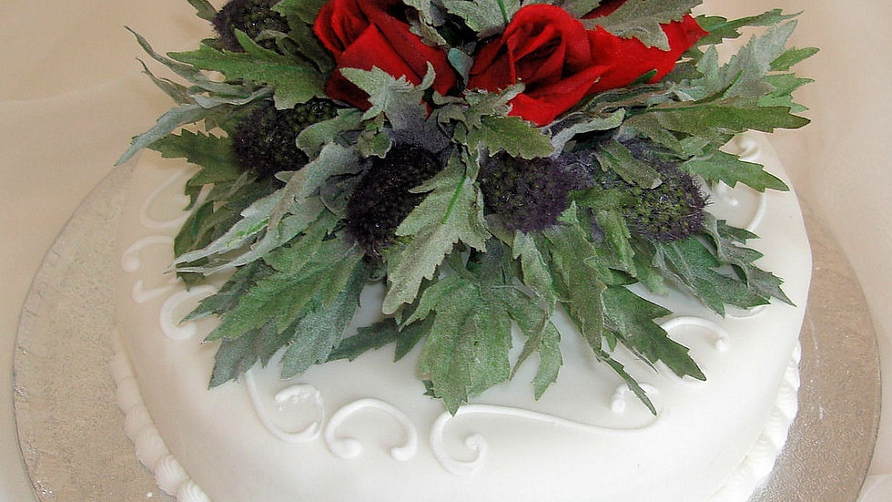 Eryngium Thistle and Red Rose Cake Topper-CT001