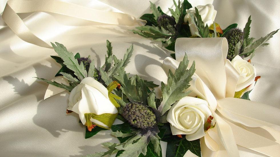 Thistle and Ivory Rose Bridal Horseshoe-HS003