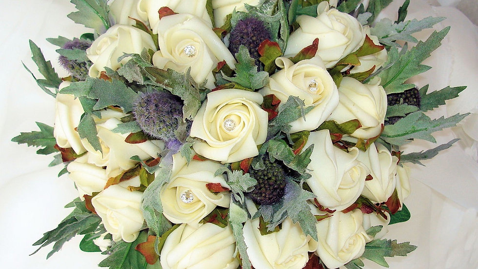 Scottish Thistle & Ivory Rose Bouquet-PB002A
