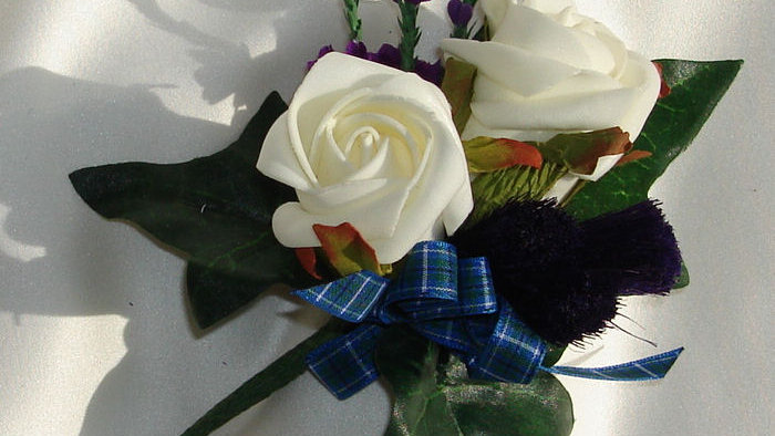Thistle, Heather and Rose Buttonhole- BH005