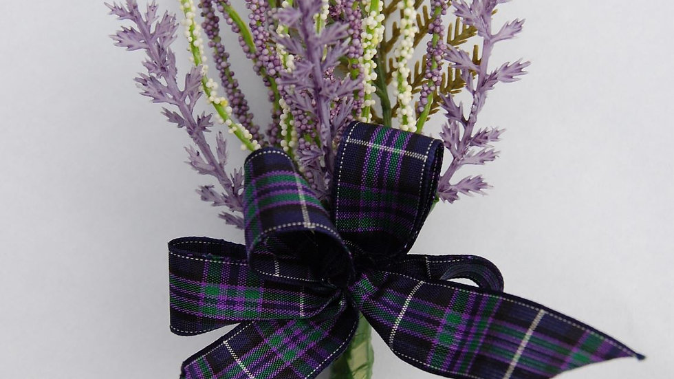 Purple & White realistic Heather Buttonhole-BH022