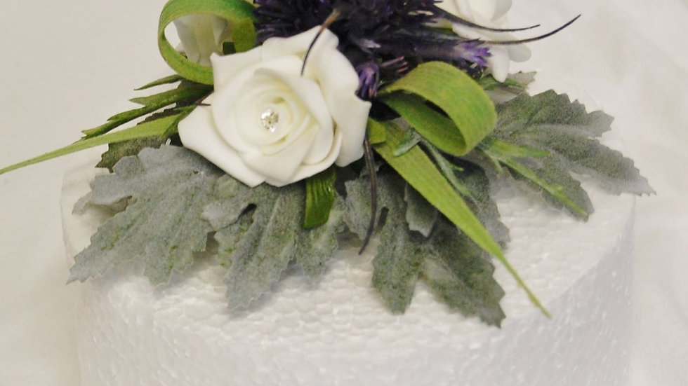 Spiky thistle & ivory rose topper -CT014