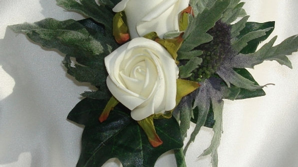 Thistle and Double Rose Buttonhole- BH004