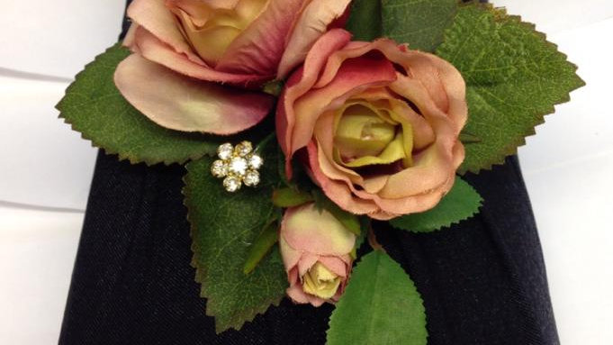 Antique Style Pink Rose Corsage-CR019