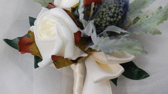 Eryngium Thistle & Rose Grooms Buttonhole-BH021