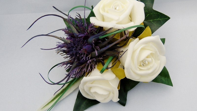 Ivory Rose & Spiky Thistle Corsage-CR010