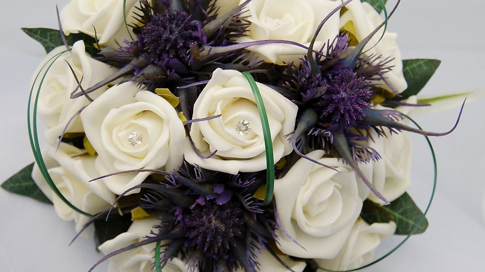 Spiky Thistle & Rose Bouquet-PB014A