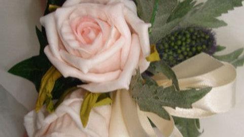 Pink Rose & Thistle Wrist Corsage-CR007