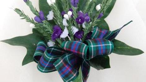 Purple & White Heather Buttonhole-BH025