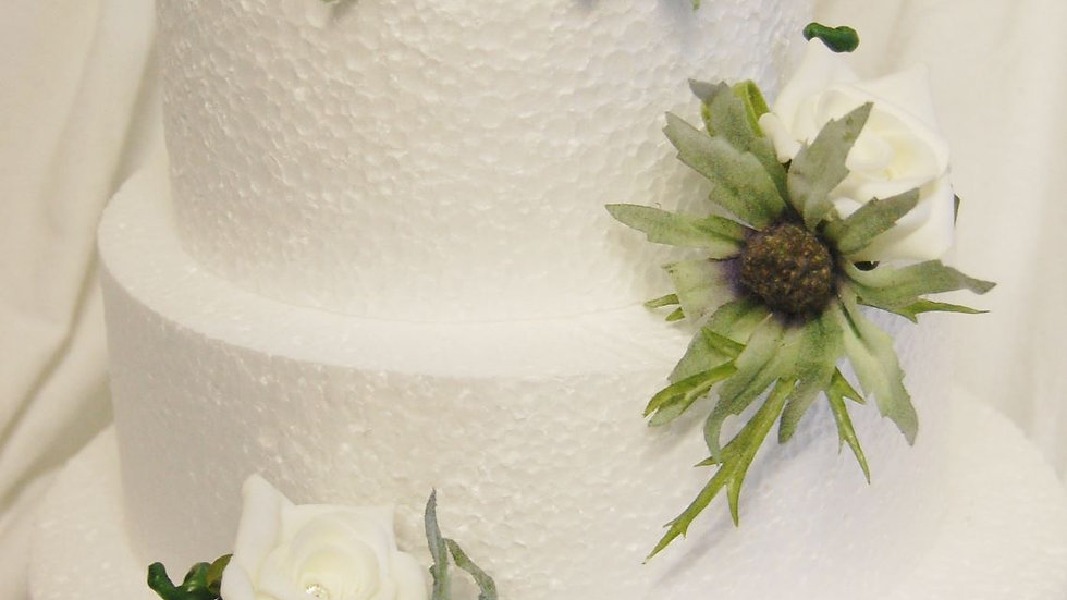 3 x thistle & ivory rose decorations-CT016