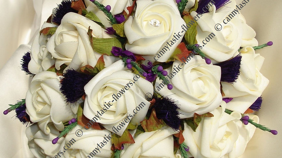 Scottish Thistle, Heather & Ivory Rose posy -PB001