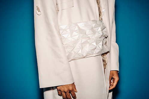 LABELEDBY. Long coat with large 3D-Printed detail