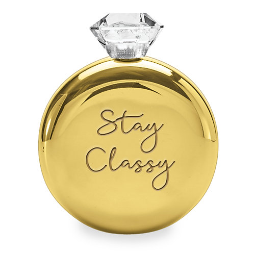 Gold Stay Classy Round Flask