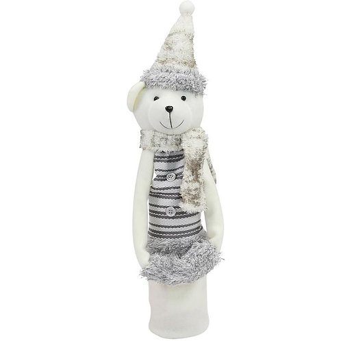 Bear White Christmas Wine Sock