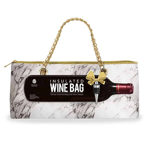 White Marble Insulated Wine Bag & Stopper