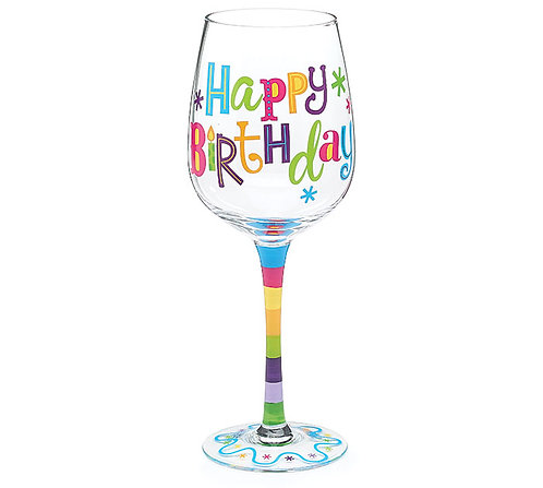 Birthday Glitz Wine Glass