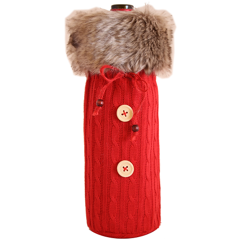 Knitted Red Fur Sweater Bottle Bag