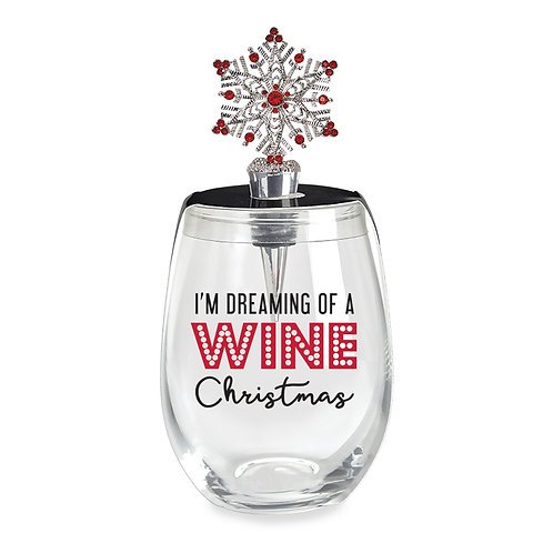 Stemless Glass and Wine Stopper Set - Wine Christmas