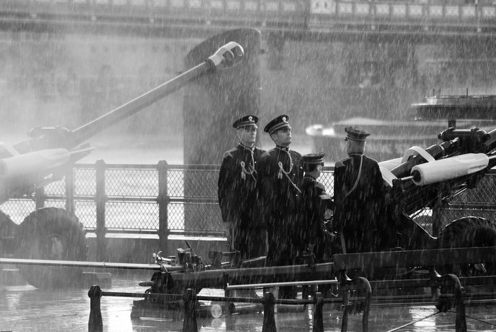 Soldiers in the rain.