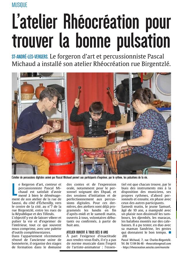 Paqscal Michaud, atelier percussions, enfants, parents, https://www.rheocreation.com/