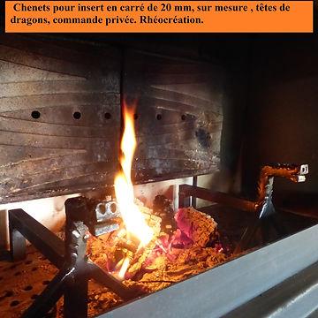 Chenets pour insert, Pascal Michaud, rhéocréation.com