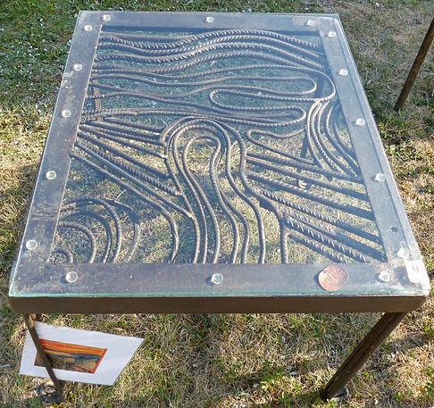 Table fer forgé, le cri de Munch,https://www.rheocreation.com/