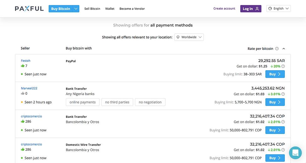 Screenshot of Paxful Marketplace