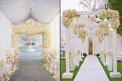 Flowers, drapes, grand entrance, white and Ivory
