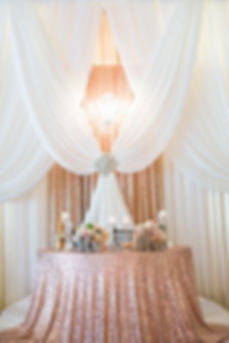 Sequin drapes with white chiffon for wedding South Florida