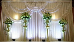 wedding drapes with floor lights at church venue South Florida