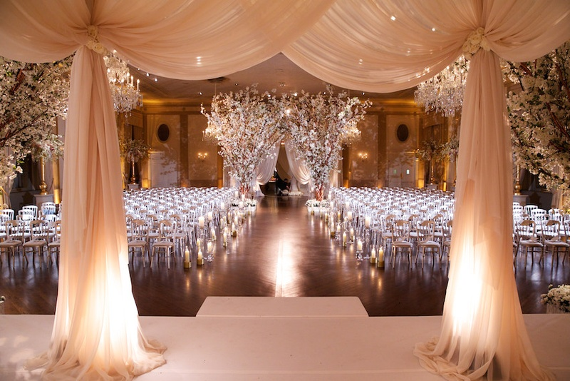 White lights decor with white drapes