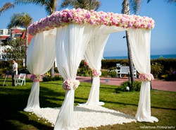 chuppa, square canopy, floral accents