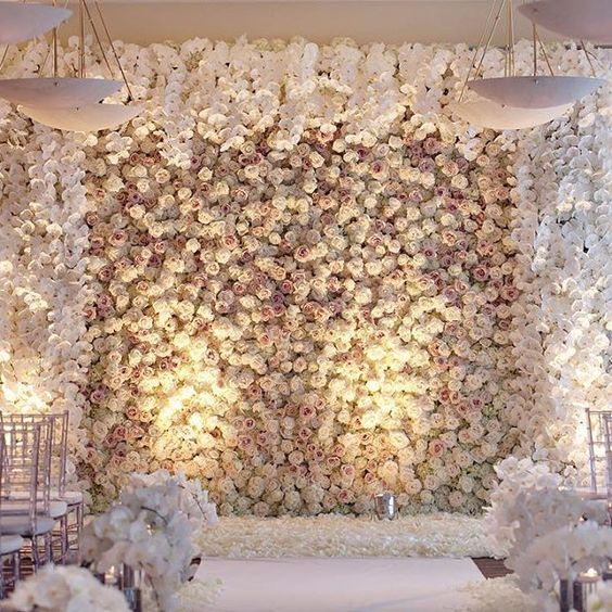 draped floral wall