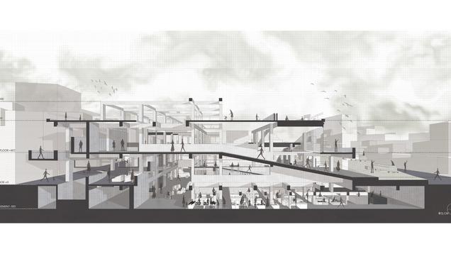 城間供應所-域變下的市場共構空間 RENOVATING PLACES IN THE CITY : Old building reorganization and adds new elements to create a new interactive space.