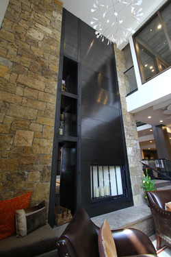 21 foot patinad steel fireplace