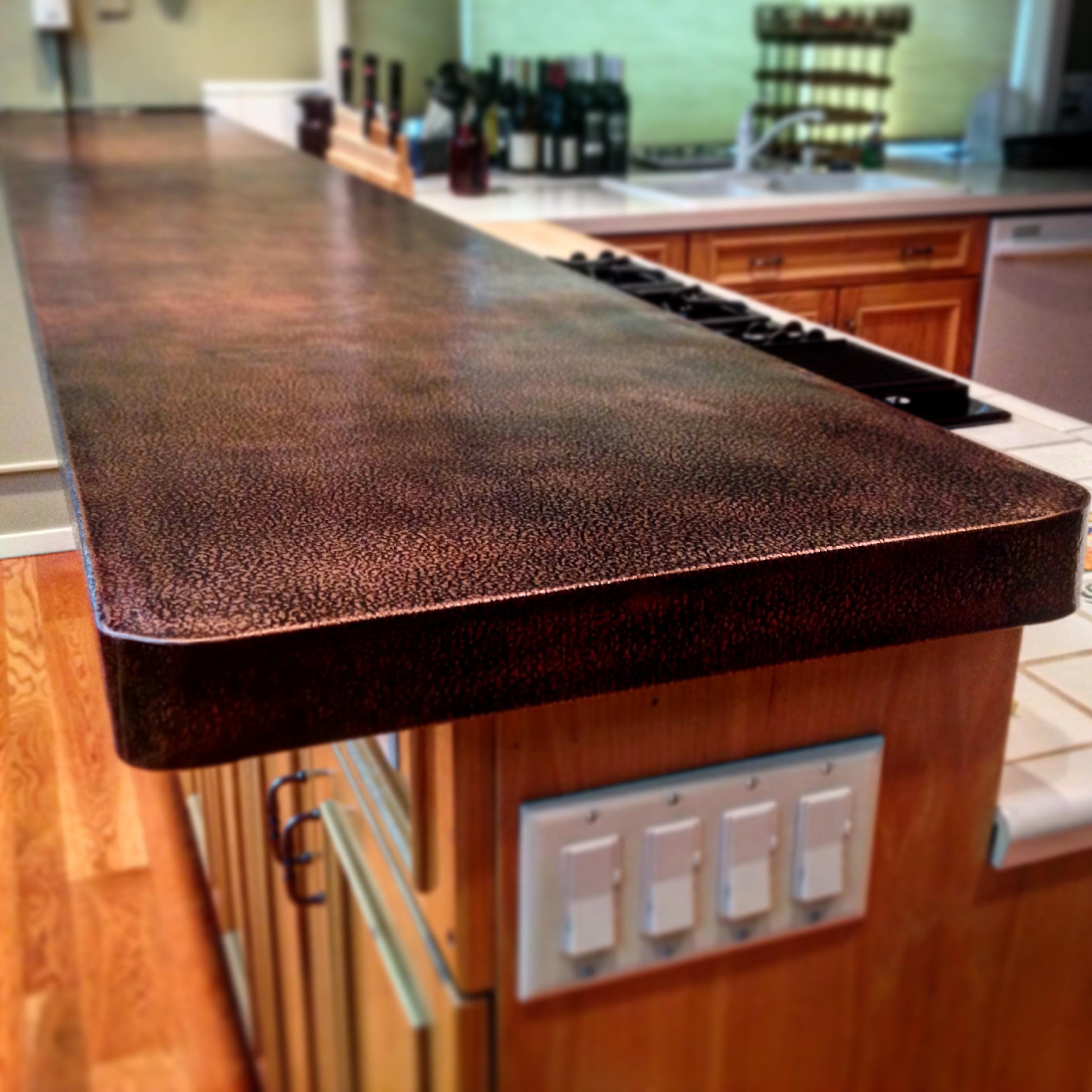 Textured Patina-d Copper Countertop