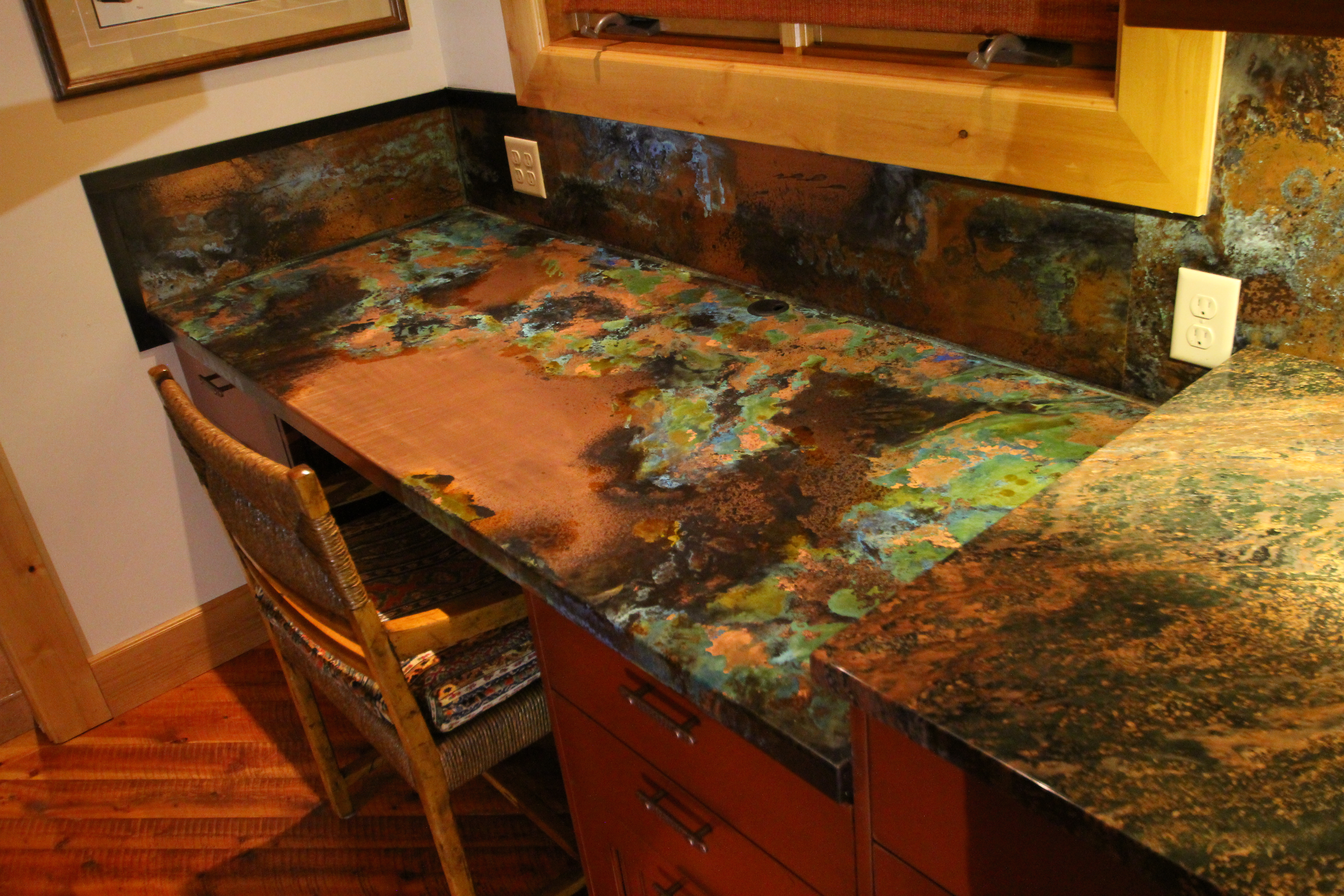 patinad copper counter