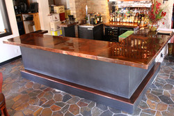 patinad copper bar top