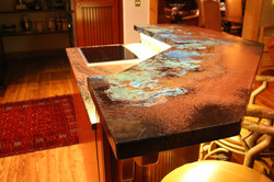 patinad copper countertop