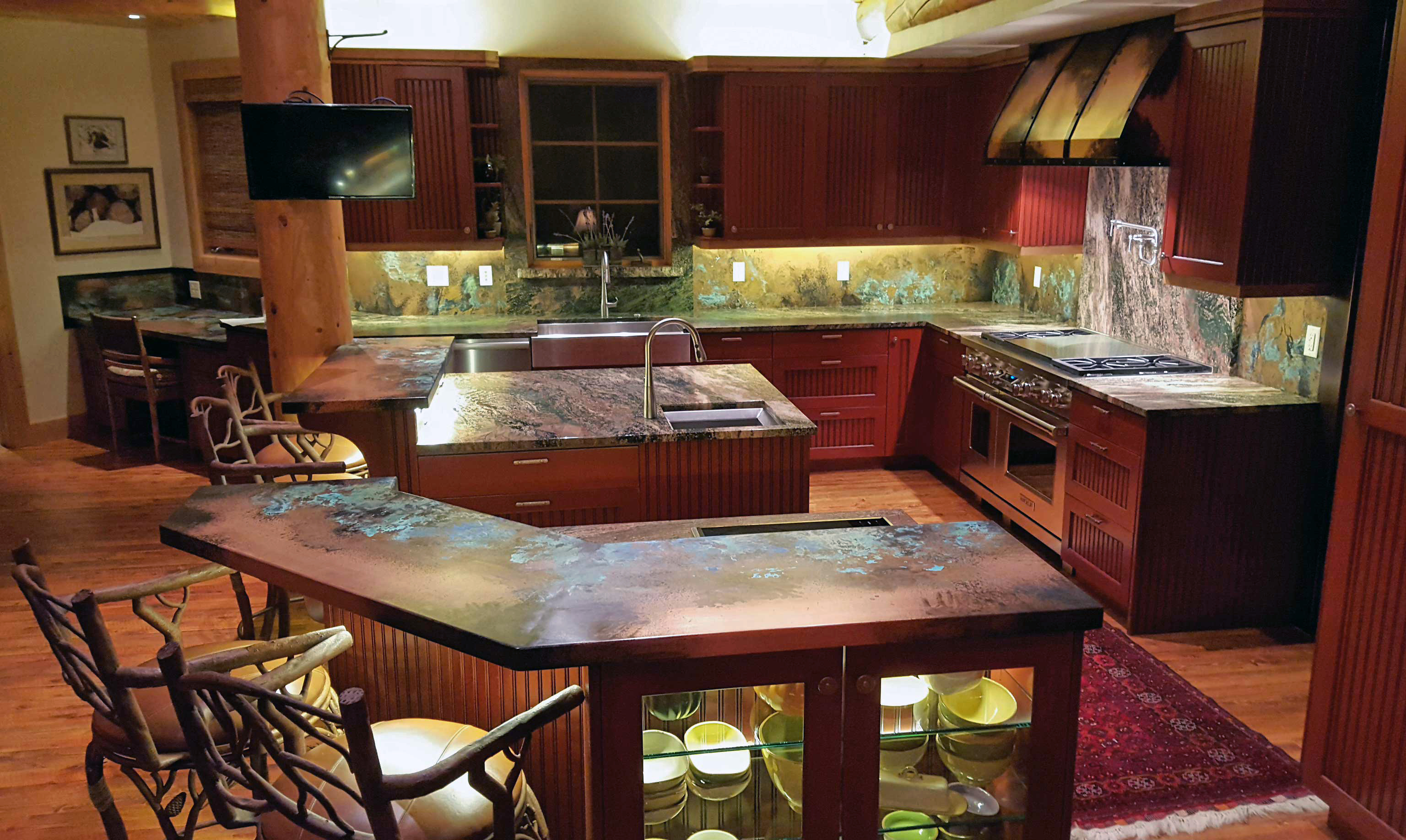 patinad copper counters
