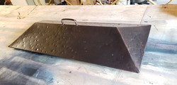 custom patinad copper fireplace lid