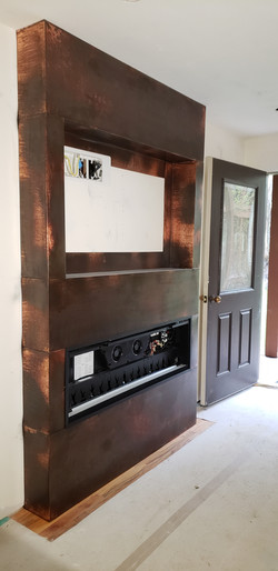 copper clad fireplace