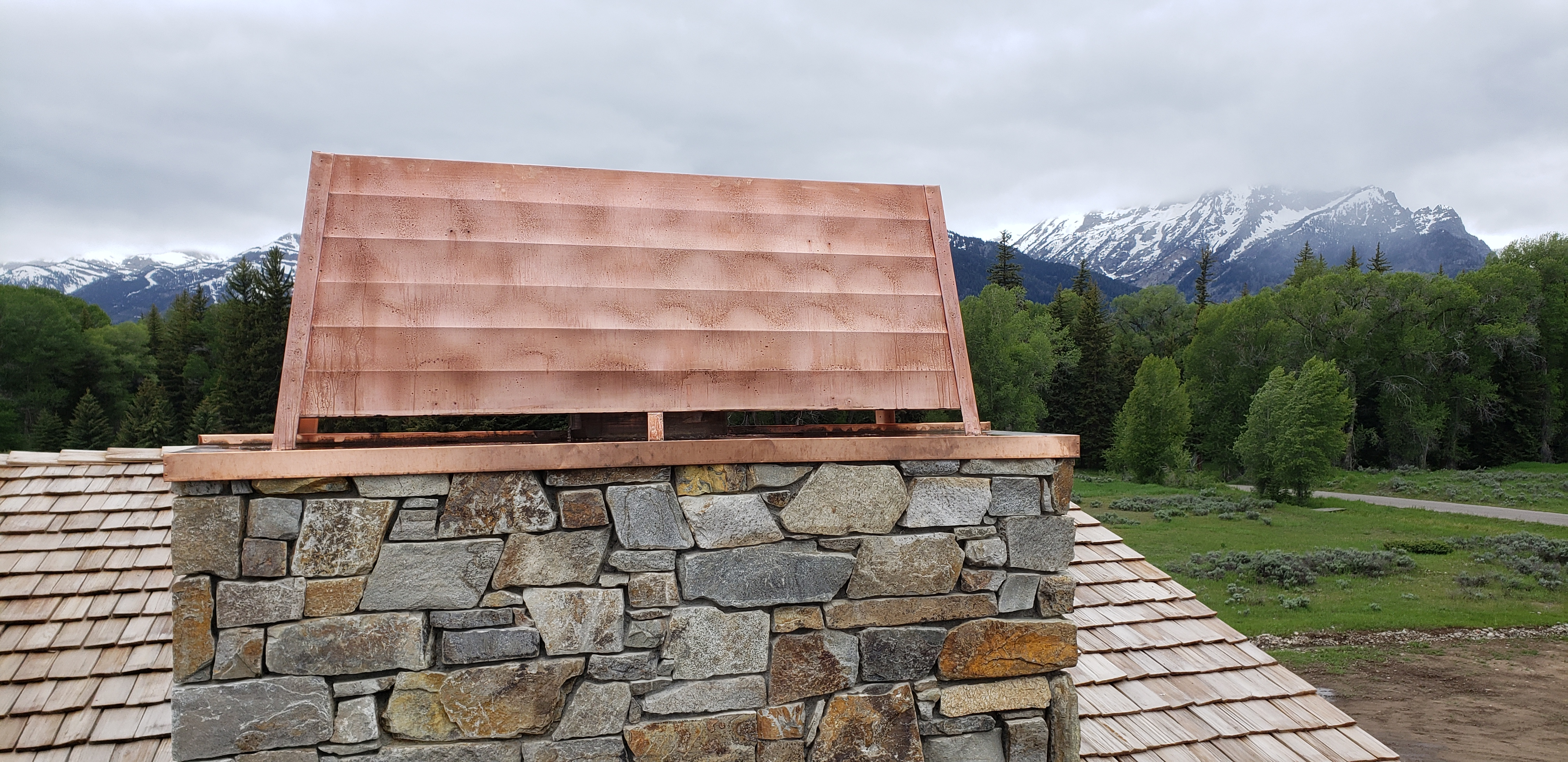 copper chimney cap and shroud