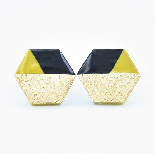 Chartreuse stud earrings with black and gold foil, hexagon studs